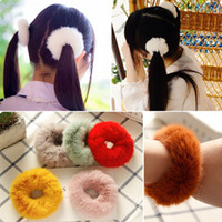 2019 New Girls Japanese INS Hairbands Fuzzy Balls Hair Rings...