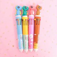 مكتب الكرتون الملونة الكتابة مدرسة القلم توريد قرطاسية 10 لون أقلام حبر جاف جميل طالب فلامنغو رئيس قلم حبر جاف DH1328
