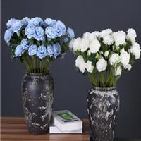 زهور اصطناعية اللون النقي الحرير زهرة الفاوانيا فرع بأوراق الزفاف الجدول زهرة عطلة الطرف الديكور الزهور WY419Q