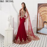 Muslim evening dresses with wrap long sleeve burgundy mermaid islamic arabic evening prom dress vestidos de fiesta 2018 evening gowns