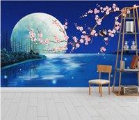 schöne Landschaft Tapeten Fantasie blaue Mondlicht Blume und Vogel Pflaume Hintergrund Wanddekoration Malerei