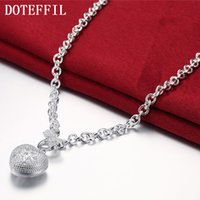 Trendy Women Heart Crystal 925 Sterling Silver Necklaces Jewelry CZ Zircon Pendant Necklace For Engagement Bijoux Gift
