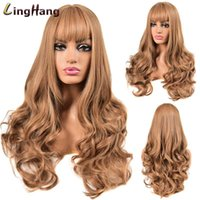 LING HANG Long Wavy Brown Gold Black Wigs with Bangs Heat Re...