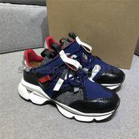 Com Caixa Das Mulheres Mens Sapatos Casuais Designer de Luxo Spikes Sapatilha Fundo Vermelho Malha Patchwork Chaussures De Couro Fosco Mens zapatos