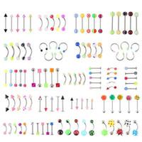 الجملة Protomtion 110PCS المختلطة مجوهرات Modelscolors الجسم مجموعة الراتنج الحاجب سرة البطن الشفاه اللسان الأنف ثقب بار خواتم