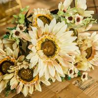 웨딩 장식 홈 정원 공급 꽃에 대한 큰 해바라기 무리 인공 꽃 실크 리얼 터치 시뮬레이션 가짜 꽃