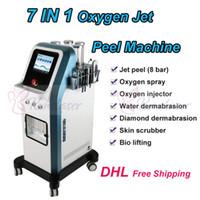 Hot! 7 em 1 tecnologia Israel 8 bar jato de oxigênio casca de água dermoabrasão hidra microcorrente facial hydradermabrasion oxgen injector spa máquina