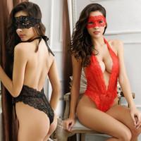 جديد إمرأة مثير الرباط الملابس الداخلية اللباس ملابس داخلية بيبي دول ملابس النوم G- سلسلة + الوجه قناع 2PCS