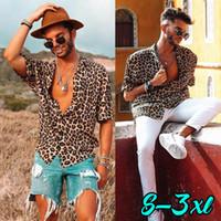 NUEVA camisa de manga corta de leopardo para hombre Summer Cool Loose Casual Camisas con cuello en V Tops