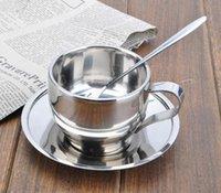 Copo de Café de Aço inoxidável Dupla Parede de Vácuo Isolado Canecas de Café Espresso Xícaras de Chá Cappuccino Restaurante Caneca com Colher e Pires