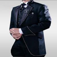 One Button Navy Long Blazer Bräutigam Smoking Groomsmen Herren Hochzeit Prom Anzüge 2017 (Jacke + Hose + Weste + Krawatte) Maßgeschneiderte Plus CY03