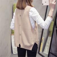 2020 maglione della molla di autunno delle donne della maglia allentato lavorato a maglia Pullover Maglietta senza maniche moda femminile coreano o-collo casuale Solid Gilet