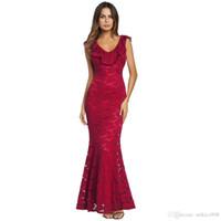 Design originale del vestito Design Primavera Nuovo vestito rosso sexy che si esibisce sul tailleur in pizzo