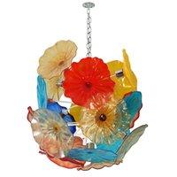 Подогреть Art Glass Flower Люстра LED Lights Цветок лотоса Цепь Подвеска Свет муранского стекла Люстра Living Room Decoration