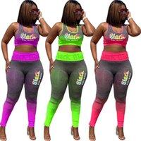 Carta de impresión se adapta a chándales para mujer de Yoga marca deportiva jogging Conjuntos 2 pantalones pieza sin mangas de color degradado chaleco delgado Conjunto gimnasio desgaste S-3XL