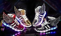 25-37 STRONGSHEN 2019 USB de charge Wing Led Chaussures pour enfants avec la lumière UP enfants BoysGirls Casual Chaussures de sport Chaussures de sport Glowing