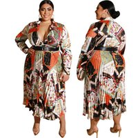 Fashion Herbst der neuen Frauen Faltenrock, Beayty Drucken-Kleid, plus Größe Dame beiläufige Kleider, Sexy V-Ausschnitt Langarm