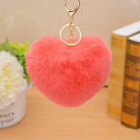 12cm Cute Fluffy Heart Keychains Women' s Pom Poms Faux ...
