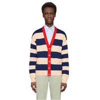 İtalya Örme Hırka Ceket Nakış Günlük Sade Açık Renk Eşleştirme Stripe Coat İlkbahar Sonbahar Triko Ceket HFYMJK234 Moda-e