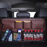 Couro de luxo 8kockets carro assento traseiro de volta saco de armazenamento de tronco de carro organizador de tronco auto strowing acessórios interiores