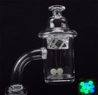 25 mm Spin Quartz Banger Set avec Terp perle quartz à billes Insert et Rotations Carb Cap Domeless pour fumeurs Pipe de Verre Bong