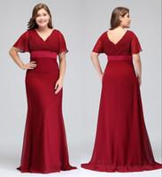 Abiti rosso scuro Plus Size Occasioni con maniche corte Scollo a V Pieghe Chiffon Abiti da sera formali Abiti speciali per la madre della sposa