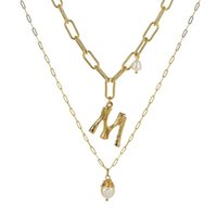 Per acqua dolce naturale barocco ciondolo collana di oro delle donne di colore di 26 A-Z Nome Big Lettera collane iniziali
