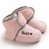 Детских Малыш обувь Дети зима теплых пинетки Поддельного руно противоскользящих малыши Новорожденного Детская обувь Письмо шпаргалка Snow Boots