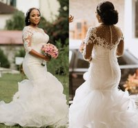 New Luxury Plus Size Mermaid Wedding Dresses Illusion Lace Appliques Beaded 1 2 Sleeve Tiered Ruffle Black Girl Long Formal Bridal Gowns