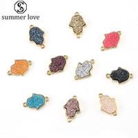Resina de Piedra de piedra colorida de Palm pendientes de oro colgantes del encanto de joyería y accesorios para las mujeres colorido collar de la pulsera pendientes de la mayor-Z