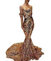Immagine reale Sexy Abiti da ballo neri Paillettes dorate Sirena di pizzo Abiti da sera africani Ragazza nera Coppia Giorno Taglie forti Abiti da festa