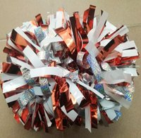 "1Piece Cheerleader Pom poms 6"" Handle Holographic silve..."