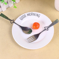 الفولاذ المقاوم للصدأ أدوات المائدة عشاء مجموعة القلب ملعقة وشوكة حفل زفاف لصالح أدوات هدية تذكارية للمطبخ الزوار LXL914-1