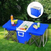 WACO Multifunktions-isolierte Getränke-Walzkühler-warmes Sets, Outdoor-Picknick-Camping-Tisch 2 tragbarer faltbarer Angelstuhl Hocker - Blau