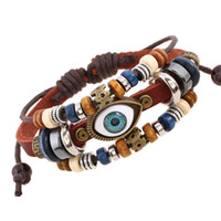 Evil Eye Bracelet Adjustable Multilayer Wrap Bracelet Wood B...