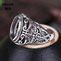 925 Sterling Silver Men anello di fidanzamento Vintage Wedding 10x14mm ovale Cabochon semi anello di supporto in forma Ambra Agata Turchese Impostazione