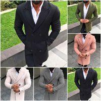 الرجال الصوف يمزج الشتاء أزياء سترة الرجال معطف سترة واقية دافئ طويل التلبيب معاطف الذكور الصلبة سترة ضئيلة الملابس الخريف