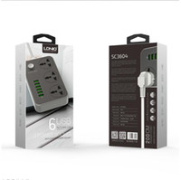 LDNIO SC3604 스마트 6 USB 충전기 어댑터 충전기 5V 3.4A 접지 확장 전원 소켓 EU / UK PLUG 17W