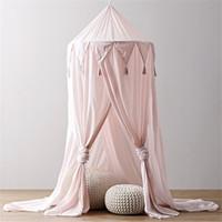Joven Bebé cama con dosel Bedcover Mosquito visillo de cama redonda tienda de la bóveda de algodón para decoración de habitaciones de bebé 240cm x 50cm Rosa 2019
