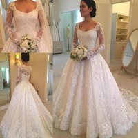 New Simple Cheap A Line Wedding Dresses Scoop Neck Lace Appl...