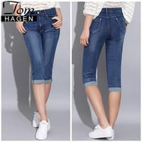 Tom Hagen 2019 Sommer-dünne Jeans-Frauen-Hosen mit hoher Taille Jeans-Frauen plus Größen-Frauen Denim Female Stretch knielangen J190426