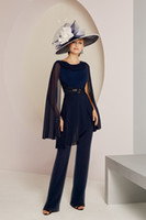 Dark Navy Mother of The Bride Pant Suits Two Pieces Jewel Ne...