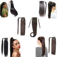 """Elibess бренд человеческий хвост прямой лентой хвостики клип в наращивание волос 200 г 2 шт., 18 20 22 """" обернуть конский хвост хвощ, бесплатная доставка"""