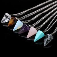 Естественный Gemstone ожерелье Кристалл Исцеления Чакра Рэйки Silver Stone шестиугольная Призм Конус Pendulum шарма ожерелья 11 стилей RRA2099