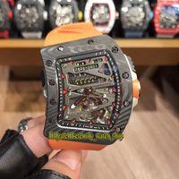 Лучшая версия RM 70-01 Tourbillon Alain Prost F1 NTPT Carbal Fibre Case Case Dible Miyota Автоматическая RM70-01 Мужские Часы Спорт Роскошные Часы