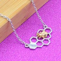 Honeycomb Colar Beehive Honey Bee Jóias Pendant Chain Link bonito colar do encanto Moda feminina Geometric Honeycomb Pendant