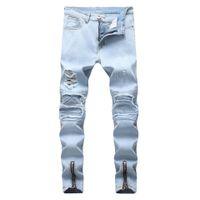 Jeans pour hommes Mens Blue Blue Pantalon de moto en détresse Déplace trou Zipper Design élastique lavé rétro de mode de mode haute rue