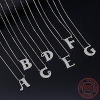 Yeni Geliş 925 Gümüş Trendy 26 İngilizce Mektup A-N Shine Zirkon Bayanlar kolye kolye Takı Kadınlar Kısa Zincirleri