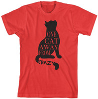 One Cat Away From Crazy T-Shirt Funny Pet Lover Regalo Mujer fashin ropa camiseta tumblr graphic tees tops