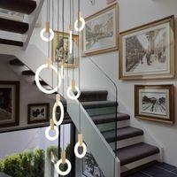 Çağdaş Ahşap LED Avize Aydınlatma Akrilik Yüzük Led Droplighs Merdiven Aydınlatma 3/5/6/7/10 Yüzükler Kapalı Aydınlatma Armatürü